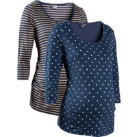 bonprix Mavi İkili Pakette Hamile Giyim Baskılı Business T-Shirt 34-54 Beden