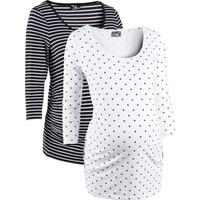 bonprix Beyaz İkili Pakette Hamile Giyim Baskılı Business T-Shirt 34-54 Beden