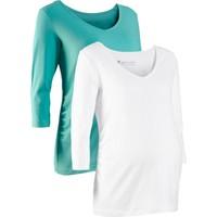bonprix Beyaz Hamile Giyim İkili Pakette 3/4 Kollu T-Shirt 34-54 Beden