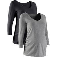 bonprix Siyah Hamile Giyim İkili Pakette 3/4 Kollu T-Shirt 34-54 Beden