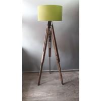 Homedit Loft Tasarım Tripod Lambader Köşe Lambası Abajur Yeşil Başlık / Ceviz Ayak