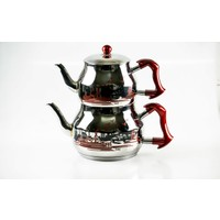Taç Asya Dekorlu Orta Boy Çelik Çaydanlık