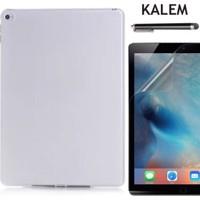 Serhan Apple iPad Pro 9.7 Tablet Süper Şeffaf Silikon Kılıf+Kalem+9H Kırılmaz Cam