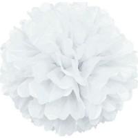 Wildlebend Kağıt Ponpon Çiçek Asma Süsü 25 Cm - Beyaz