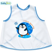 Baby Jem Yeni Poli Muşamba Önlük Beyaz/Mavi Biye