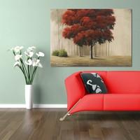 Evmanya Deco Kırmızı Ağaç Kanvas Tablo