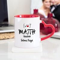Soppigo Kişiye Özel Matematik Öğretmeni Kalpli Kupa Bardak - Kırmızı
