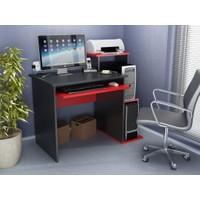 BMdekor Gümüş Bilgisayar Masası Siyah Kırmızı