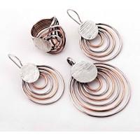 Sümer Telkari Çılgın Halkalar Ros Gümüş Tasarım Set 870 21