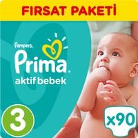 Prima Bebek Bezi Aktif Bebek Fırsat Paketi 3 Beden 90 Adet