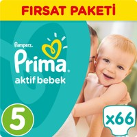 Prima Bebek Bezi Aktif Bebek 5 Beden Junior Fırsat Paketi 66 Adet