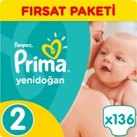 Prima Bebek Bezi Yeni Bebek 2 Beden Mini Fırsat Paketi 136 Adet