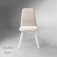 Vilinze Monaliza Sandalye, 2 Adet , Beyaz Kumaş, Beyaz Ahşap Ayak