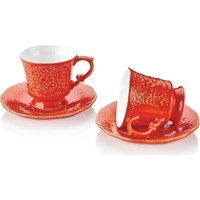 Schafer Retro 12 Parça Kahve Fincan Takımı Kırmızı