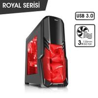 Power Boost Royal Serisi VK-G1001S 3x12 cm Kırmızı Led Fanlı USB 3.0 Pencereli Oyuncu Kasa