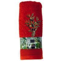 Mıss Gaya Nakışlı Havlu Zeytın Işlemelı 50X100 Cm Kırmızı