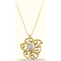 Golden Silver World 14 Ayar Altın Kalpli Kolye