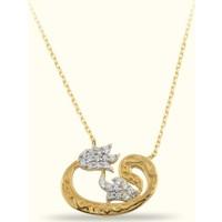 Golden Silver World 14 Ayar Altın Vav Kolye