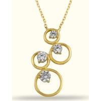 Golden Silver World 14 Ayar Altın žŞık Taşlı Kolye
