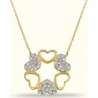 Golden Silver World 14 Ayar Altın Kalp Desenli Taşlı Kolye