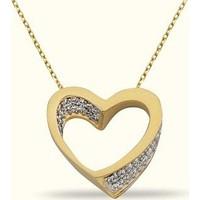 Golden Silver World 14 Ayar Altın Kalp Desenli Kolye
