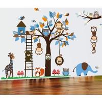 Çocuk Odası Dev Duvar Dekoru Orman Hayvanları ve Ağaç XL 186 x 95 cm PVC Duvar Sticker