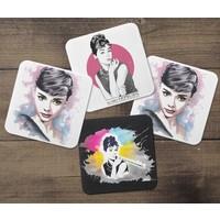 KFBiMilyon Audrey Hepburn Tasarımlı MDF Bardak Altlığı Seti