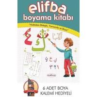 Elifba Boyama Kitabı (6 Adet Boyama Kalemi Hediyeli); Noktaları Birleştir, Tamamla Ve Boya