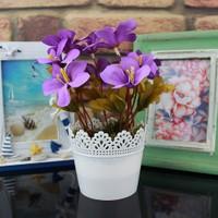 Dantelli Saksıda Lila Bahardalı Yapay Çiçek