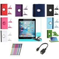 Serhan Micros Apple iPad Air 360 Dönerli Tablet Kılıf+9H Kırılmaz Cam+Kalem+Otg Kablo