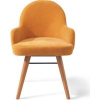 Vilinze Atlas Sandalye, 2 Adet , Sarı Kumaş, Natürel Ahşap Ayak