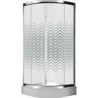 Drophill 4002 100 x 100 cm Oval Duş Teknesi + 5 mm Wave Çizgili Duşakabin