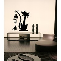 Cute Cat Kadife Duvar Sticker 46X53 Cm