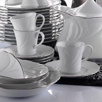 İkram Dünyası Kütahya Porselen Troya Platin File Çay Fincanı Tabaklı 6'Lı