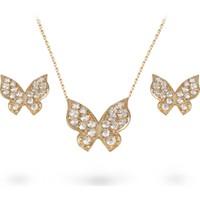 Ejoya Taşlı Kelebek Altın Kolye-Küpe Seti