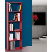 Hepsiburada Home 5 Raflı Kitaplık Kırmızı 60 Cm