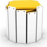 Rafevi Hansel Zigon Sehpa Beyaz Sarı
