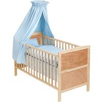 TecTake Bebek Karyolası Yatak Ahşap Mavi