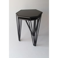 Metal Tasarım Zigon Sehpa Altıgen 2'li Set Siyah