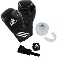 Adidas Speed 50 Kick-Box Ve Boks Eldiveni Siyah + Dişlik + Boks Bandajı Set 10 Oz