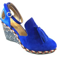 Nemesis Shoes Dolgu Topuklu Sandalet Mavi Süet