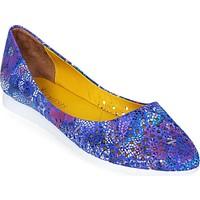 Nemesis Shoes Babet Ayakkabı Mavi Baskılı Deri