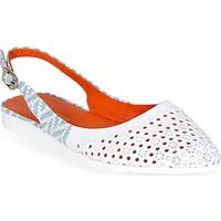 Nemesis Shoes Babet Ayakkabı Beyaz Baskılı Deri Turuncu Astarlı