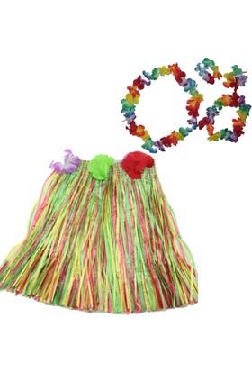Pandoli Hawaii Kostüm Çiçek Kolye Ve Etek Seti