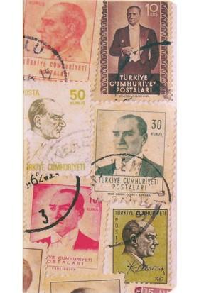 Postage Stamp / Atatürk 11*21 30 Sayfa Terzi Dikişli 80 Gr. Ivory Çizgisiz Defter