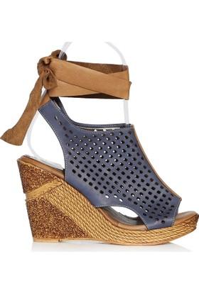 UK Polo Club P64711 Kadın Topuklu Sandalet - Lacivert Taba