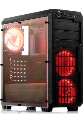 Dark Sentinel 600W 3x Kırmızı LED Fan, USB3.0, Full Akrilik Yan Panelli Mid-Tower Siyah Oyuncu Kasası (DKCHSENTINEL600)