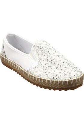 Ayakkabı - Beyaz Gümüş Simli - Zenneshoes