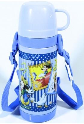 Disney Mickey Mouse Termos Çelik Matara (Bardaklı)