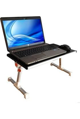 Portatif Katlanabilir Çift Soğutuculu Eğim ve Yükseklik Ayarlı Masaüstü Yatak Laptop Sehpası
